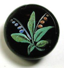 Antique Black Glass Button w/ Colorful Hand Painted Enamel Floral Design