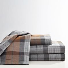 Asher Plaid Heathered Sheet Set, XL Twin, Brown