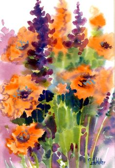 GARDEN GLEE MUMS Original  Jude Dorland Welter Matted Watercolor with Asters and Fall Colors