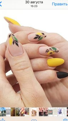 Fall dusty yellow nails with a delicate leaf design.❤ Fall dusty yellow nails with a delicate leaf design. Chic Nails, Stylish Nails, Trendy Nails, Yellow Nail Polish, Yellow Nail Art, Floral Nail Art, Yellow Nails Design, Nagel Hacks, Pretty Nail Art