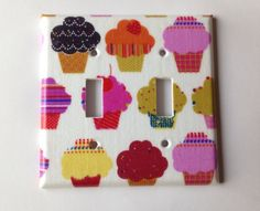 Cupcake Light Switch Plate Cover/ Double by COUTURELIGHTPLATES Cupcake nursery decor, cupcake kitchen decor, cupcake kitchen, girls nursery decor #cupcakekitchen #cupcakenurserydecor #cupcakenursery