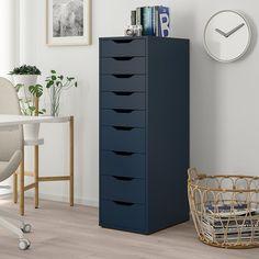 ALEX Drawer unit with 9 drawers Blue 36 x 116 cm - IKEA
