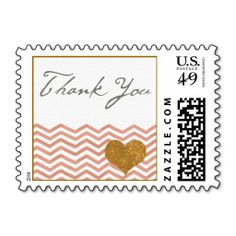 Gold Pink Chevron Wedding Thank You Stamp