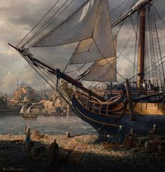 """Port Royal"" by Sarel Theron Pirate Art, Pirate Life, Pirate Ships, Bateau Pirate, Old Sailing Ships, Sailing Boat, Port Royal, Ship Paintings, Wooden Ship"