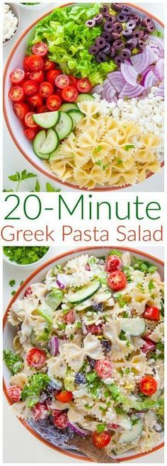 Packed with fresh ingredients and tons of flavor, my Greek Pasta Salad is ready in just 20 minutes. Bonus: The leftovers taste even better the next day! Packed with fresh ingredients and tons of flavor, my Greek Pasta Salad is ready in just 20 minutes! Barbecue Sides, Barbecue Side Dishes, Greek Salad Pasta, Soup And Salad, Easy Pasta Salad Recipe, Pasta Recipes, Soup Recipes, Pasta Salad Ingredients, Greek Salad Recipes