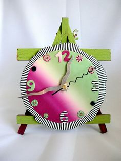 Table Clock by TANIA PODOLEANU | Polymer Clay Planet