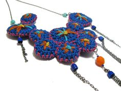 OOAK Folk Crochet Necklace tribal electric blue orange pink yellow spring embroidered. €55,00, via Etsy.