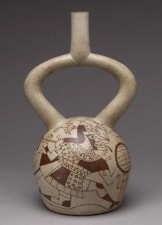 Botella de guerrero, siglo 6th–8th  Peru; Cerâmica de Moche