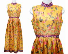 Vintage 60's Yellow & Purple Floral Oriental Themed Maxi Dress S