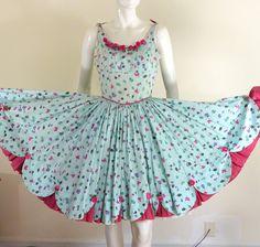 Vtg 50s Floral Novelty Print Day Party Dress CIRCLE Skirt Ruffle Hemline ROSES #Unknown #SleevelessDress