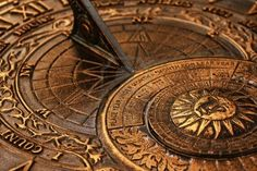 Surface of old copper sundial