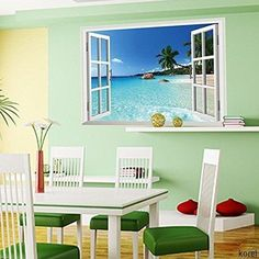Large Removable Beach Sea Window Decal Wall Sticker Home Decor Exotic Beach View Art Wallpaper Mural Beach Wall Murals, Custom Wall Murals, Removable Wall Murals, Removable Wall Stickers, Mural Wall, 3d Wall Decor, Wall Stickers Home Decor, Diy Home Decor Bedroom, Home Decor Fabric