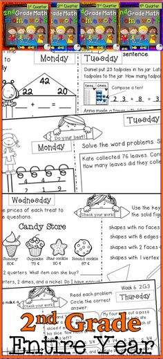 Math Homework for second graders! I love this resource because it is completely Common Core aligned, it reviews all math domains weekly, and it's only one page per week! Have a look, and try a free 2-week sample!