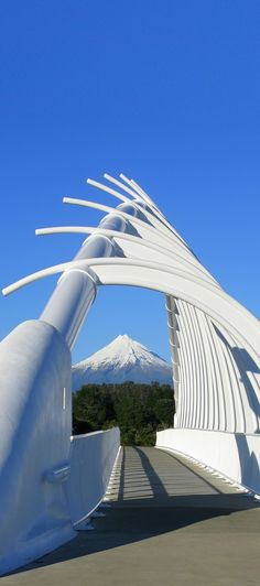Mount Taranaki & Te Rewa Rewa Bridge cycleway across the Waiwhakaiho River, New Plymouth, North Island, New Zealand
