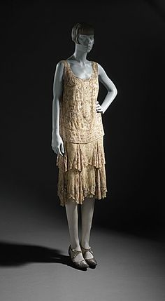 France Woman's Evening Dress, circa 1926 Costume/clothing principle attire/entire body, Sequins on silk chiffon and lace,  Gift of Alexander J. and Anthony D. Cassatt (54.97.33) Costume and Textiles Department.