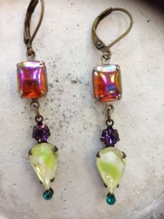 Aurora Borealis with Vintage Pear shaped Lime Purple by EBoheme, $28.00