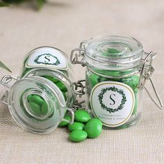 For a charming rustic feel to your favors, fill these glass favor jars with candy or a special homemade treat. The jar features a durable white rubber gasket and metal locking device so that your guests can use it again and again long after the wedding. Summer Wedding Favors, Wedding Favour Jars, Rustic Wedding Favors, Bridal Shower Favors, Fall Wedding, Greenery Centerpiece, Elegant Wedding, Packaging, Rustic Feel