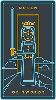 Queen of Swords card from the Golden Thread Tarot Tarot Deck Fun Galaxy, Galaxy Theme, Golden Thread Tarot, King Of Swords, Le Tarot, Knight Sword, Halloween Stories, Queen Of Spades, Tarot Card Meanings