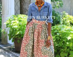 African Print Maxi Olive by CHENBURKETTNY on Etsy