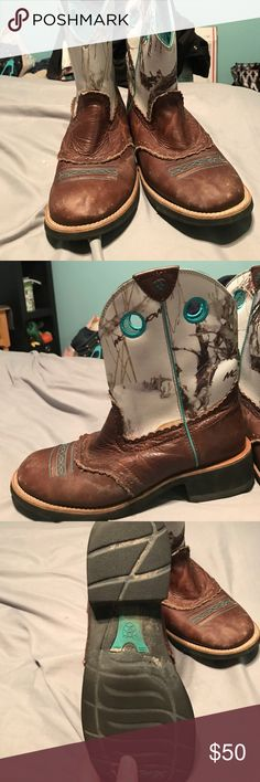 Ariat boots Worn only a couple of times a few scuffs in the leather but it adds character, really in excellent condition, I just have a few to many pairs size 10 b Ariat Shoes