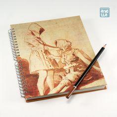 Libreta hecha a mano reciclando una página de un viejo ejemplar del libro «El mundo de Goya en sus dibujos».