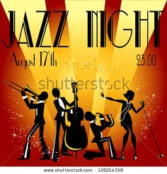 Abstract jazz band, Jazz music party invitation design, Vector illustration with sample text by Natalia Hubbert, via Shutterstock