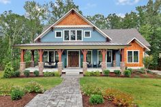Get a modern spin on a Craftsman-style design with this flexible house plan that gives you up to five bedrooms and a laundry room for each floor.The great room opens to a large screened porch that is also accessible from the morning room.The morning room is perfect for casual meals while the dining room can accommodate more formal dinners. With its own full bath, the study can also be used as a guest room or 4th bedroom. The first floor master suite has a large bath and walk-in closet and is…