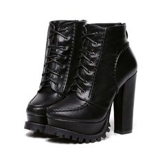 SheIn(sheinside) Black Chunky High Heel Hidden Platform Boots ($35) ❤ liked on Polyvore featuring shoes, boots, ankle booties, heels, black, chunky heel boots, black platform boots, short black boots, black high heel boots and black booties