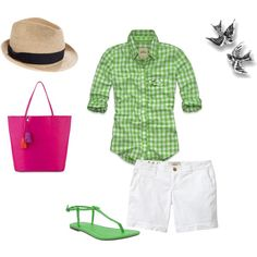 spring day, created by jenni1013 on Polyvore*** maybe hot pink tank under top too!