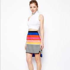 2HPStripped skirt w Curved Hem. **FIRM PRICE** This is a awesome summer skirt with beautiful stripes n colors. Worn only once for just an hour! ASOS Skirts