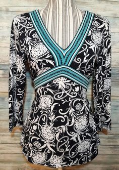 ANN TAYLOR LOFT V NECK EVENING CAREER FITTED TOP BOHO FLORAL PAISLEY B&W AQUA S #AnnTaylorLOFT #Blouse #EveningOccasion