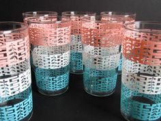 Set of  7 Vintage Drinking Glasses With Pink, White and Turquoise Mid-Century Decoration