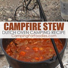 Campfire Stew Dutch Oven Camping Recipe (it is easy, hearty and tender!) Dieses Campfire Stew Dutch Oven Camping Rezept von CampingForFoodies ist so Camp Oven Recipes, Campfire Dutch Oven Recipes, Dutch Oven Camping, Oven Chicken Recipes, Camping Recipes, Camping Stew Recipe, Amish Recipes, Dutch Recipes, Beef Recipes