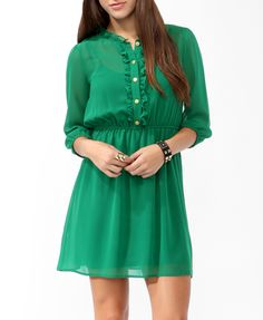 Ruffled Buttoned Shirtdress | FOREVER21 - 2021840928