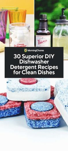 DIY Dishwasher Detergent -- If you're looking to reduce the number of chemicals you use in your home, try making your own dishwasher soap! Here are 30 recipes you can try depending on your preferences. Homemade Cleaning Products, Cleaning Recipes, Cleaning Tips, Green Cleaning, Cleaning Solutions, Dishwasher Tablets, Dishwasher Detergent, Diy Dishwasher Cleaner, Cleaners Homemade
