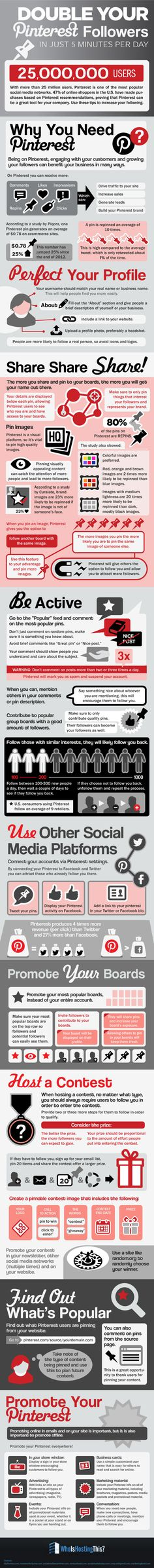 Double Pinterest Followers Organically In Just Five Minutes A Day [Infographic] - some good tips in here, peeps! #marketing #youtube #videos  #seo http://hdstartup.com #hdstartup