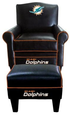 Miami Dolphins Leather Game Time Chair and Ottoman $655.58 from @sportsfanplus #mancave furniture