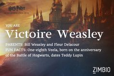 Which next generation Harry Potter character are you?? I got Victoire Weasley