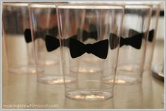 Black Tie Baby Shower | ... black vinyl into bow tie shapes and placed them on clear plastic
