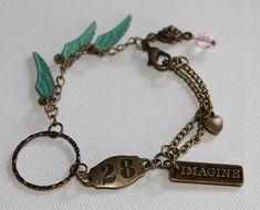 Boho Vintage Style Charm Bracelet - Wing Charms - IMAGINE Charm - Vintage Gold - OOAK