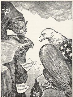 cold war political cartoons | Political cartoon of US vs USSR
