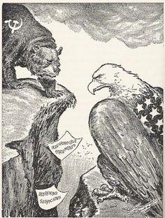 cold war political cartoons | Political cartoon of US vs USSR