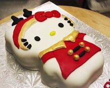 Christmas hello kitty cake