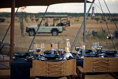 Table setting at a luxury camp in Africa. Um, yes please! Singita Grumeti Reserves