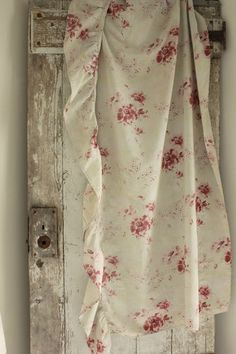 Raspberry and ivory floral fabric