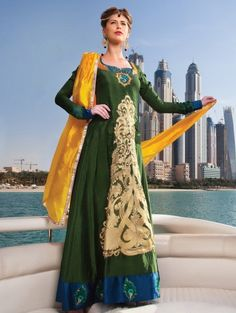 Dark Sea Green and Green Georgette suit with Embroidery Work