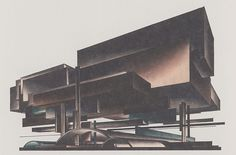 Iakov Chernikhov, Composition 138, airplane factory 1928, looks like Mies' monument mounted on pilotis
