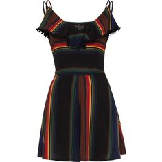Women's Voodoo Vixen JOSIE Rainbow Playsuit Black ($48) ❤ liked on Polyvore featuring jumpsuits, rompers, striped romper, ruffled rompers, v neck romper, lace rompers and stripe romper