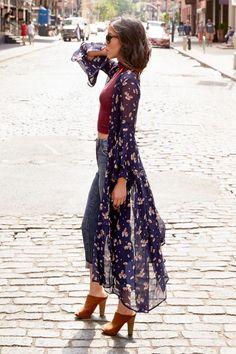 Kimono, jeans, heels
