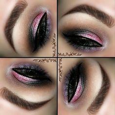 Pink & Purple #eyes #eyemakeup #colorful #eyebrow - bellashoot.com